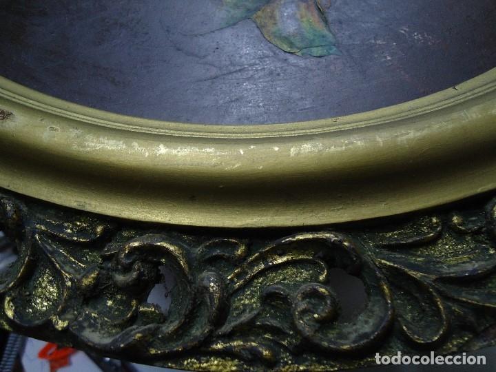 Arte: magnifico oleo sobre tabla FLORES firmado E. REIRIZ 1972 ovalado enmarcado mide 72x57cm. marco oro - Foto 7 - 181613496