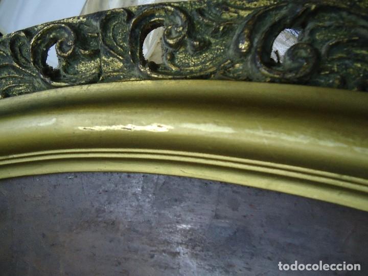 Arte: magnifico oleo sobre tabla FLORES firmado E. REIRIZ 1972 ovalado enmarcado mide 72x57cm. marco oro - Foto 8 - 181613496