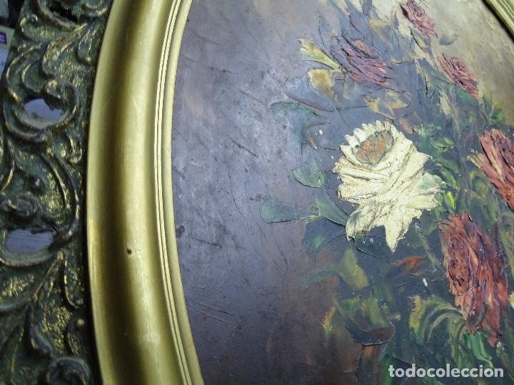 Arte: magnifico oleo sobre tabla FLORES firmado E. REIRIZ 1972 ovalado enmarcado mide 72x57cm. marco oro - Foto 9 - 181613496