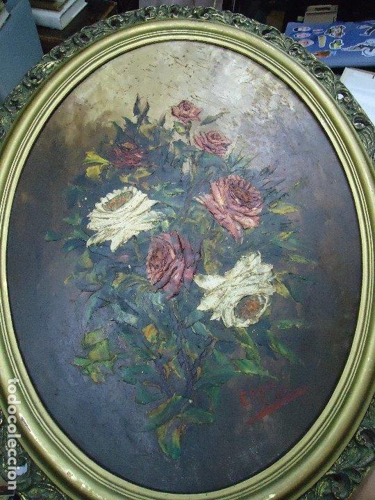 Arte: magnifico oleo sobre tabla FLORES firmado E. REIRIZ 1972 ovalado enmarcado mide 72x57cm. marco oro - Foto 10 - 181613496