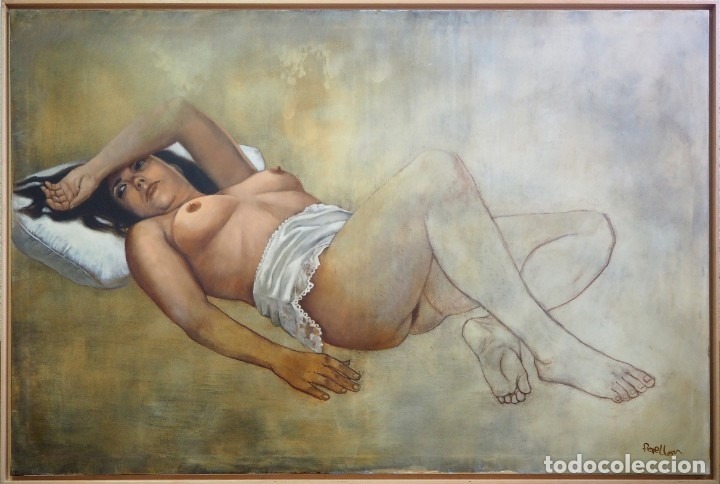CELEDONIO PERELLÓN. CUADRO AL ÓLEO DE GRAN FORMATO. ESCORZO DE MUJER. AÑOS 90 (Arte - Pintura - Pintura al Óleo Contemporánea )