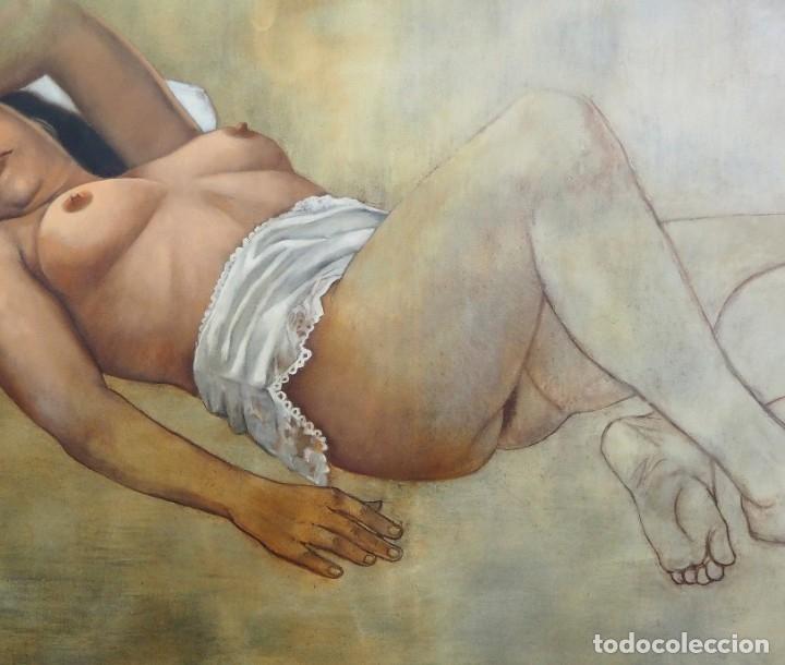 Arte: CELEDONIO PERELLÓN. CUADRO AL ÓLEO DE GRAN FORMATO. ESCORZO DE MUJER. AÑOS 90 - Foto 3 - 181616507