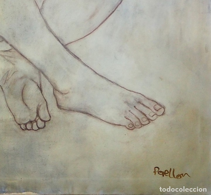 Arte: CELEDONIO PERELLÓN. CUADRO AL ÓLEO DE GRAN FORMATO. ESCORZO DE MUJER. AÑOS 90 - Foto 5 - 181616507