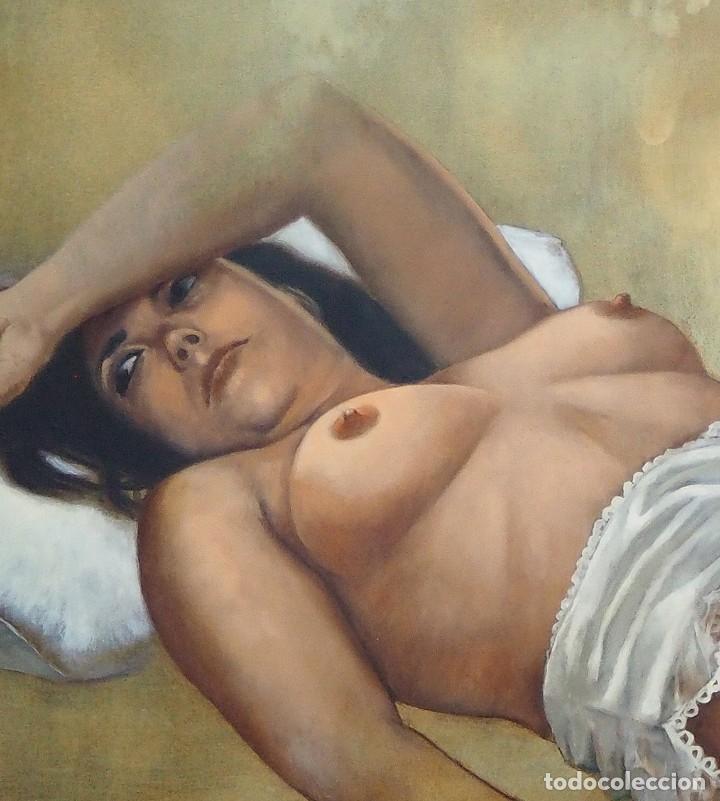 Arte: CELEDONIO PERELLÓN. CUADRO AL ÓLEO DE GRAN FORMATO. ESCORZO DE MUJER. AÑOS 90 - Foto 6 - 181616507