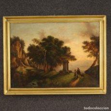 Arte: PINTURA ITALIANA ANTIGUA DE PAISAJE CON PERSONAJES DEL SIGLO XIX. Lote 181701408