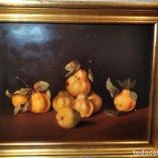 Arte: MANUEL VENTURA MILLÁN. BODEGÓN DE PERAS. GRAN CALIDAD. LIENZO 52X40.. Lote 181704978