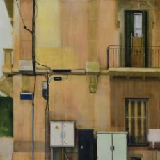 Arte: RAMBLA SOLANES, CORNELLÁ DE LLOBREGAT. OLEO SOBRE MADERA, 101X80CM, DE PEP ENCINAS. Lote 181763860