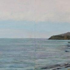 Arte: RIBA PITXOT, CADAQUÉS, GIRONA. OLEO SOBRE MADERA, 97X33CM, FIRMADO, PEP ENCINAS. Lote 181905773