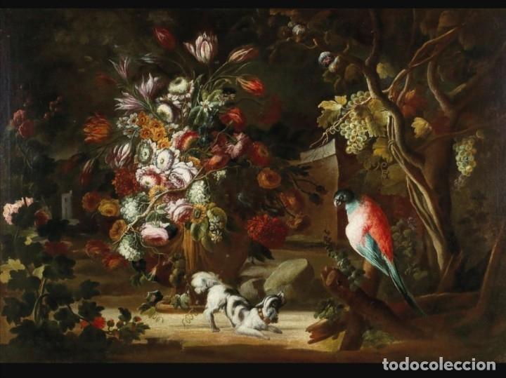 Arte: Escuela del Norte de Italia, alrededor de 1700. Bodegón de flores y frutos con un perro y un loro - Foto 3 - 166614181