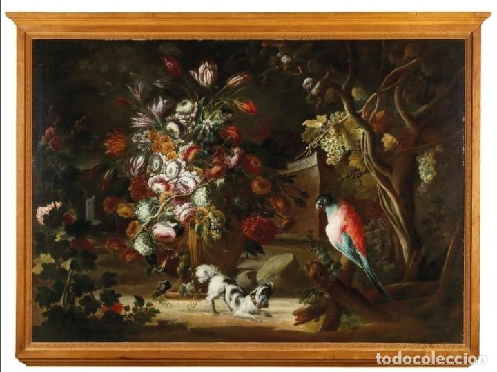 Arte: Escuela del Norte de Italia, alrededor de 1700. Bodegón de flores y frutos con un perro y un loro - Foto 2 - 166614181