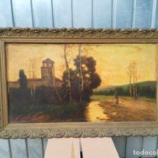 Arte: IMPRESIONANTE OLEO ENMARCADO PAISAJE MUJER CON PATOS FIRMADO E.MARIN ENRIQUE MARIN ??. Lote 181953293