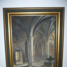 Arte: FERNANDO PIQUE -FUENTE DE L'OU COM BALLA -CATEDRAL DE BARCELONA OLEO /LIENZO 55 CM X 41CM . Lote 181967678