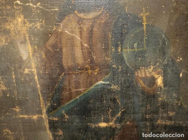 Arte: SALVATOR MUNDI CUADRO RETABLO DE GRAN TAMAÑO S. XV-XVII - Foto 12 - 181976396