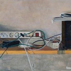 Arte: CABLES. OLEO SOBRE CARTÓN DE IMPRESIÓN, 86X51CM, DE PEP ENCINAS. Lote 182003945