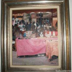 Arte: CUADRO OLEO FRANCESC SILLUE PUESTO MERCADO BARCELONA. Lote 182091045