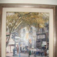 Arte: CUADRO OLEO FRANCESC SILLUE LAS RAMBLAS DE BARCELONA AÑOS 80. Lote 182131677