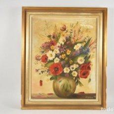 Arte: BODEGÓN CON FLORES EN ÓLEO SOBRE LIENZO FIRMADO 1959. Lote 182133711