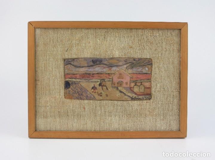 EDUARD BLANXART, RECORD D'INFÀNCIA, APUNTE, CASA Y CAMPO, PINTURA SOBRE TABLA, CON MARCO. 13X6CM (Arte - Pintura - Pintura al Óleo Contemporánea )
