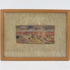 Arte: EDUARD BLANXART, RECORD D'INFÀNCIA, APUNTE, CASA Y CAMPO, PINTURA SOBRE TABLA, CON MARCO. 13X6CM. Lote 182201733
