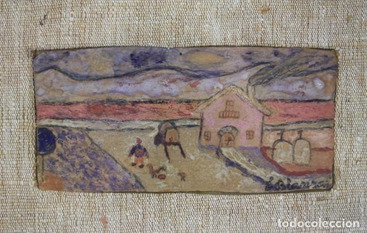 Arte: Eduard Blanxart, record dinfància, apunte, casa y campo, pintura sobre tabla, con marco. 13x6cm - Foto 2 - 182201733