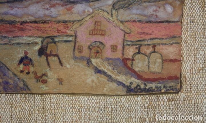 Arte: Eduard Blanxart, record dinfància, apunte, casa y campo, pintura sobre tabla, con marco. 13x6cm - Foto 3 - 182201733