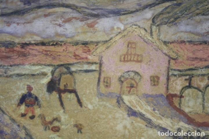 Arte: Eduard Blanxart, record dinfància, apunte, casa y campo, pintura sobre tabla, con marco. 13x6cm - Foto 4 - 182201733