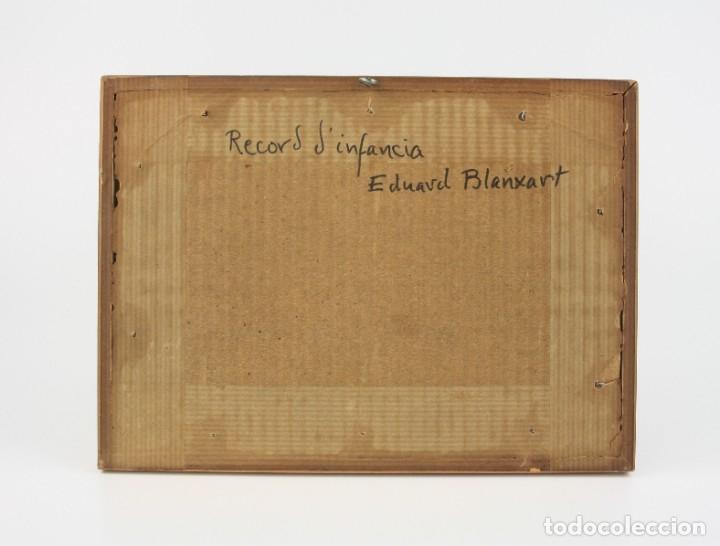 Arte: Eduard Blanxart, record dinfància, apunte, casa y campo, pintura sobre tabla, con marco. 13x6cm - Foto 5 - 182201733