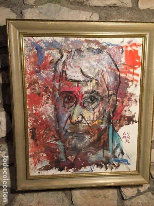 Arte: Antiguo cuadro al oleo de autoretrato abstracto firma del autor Arturo Espinosa Rosique año 1992 - Foto 2 - 182233820