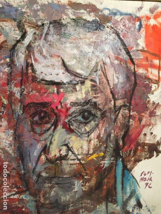 Arte: Antiguo cuadro al oleo de autoretrato abstracto firma del autor Arturo Espinosa Rosique año 1992 - Foto 4 - 182233820
