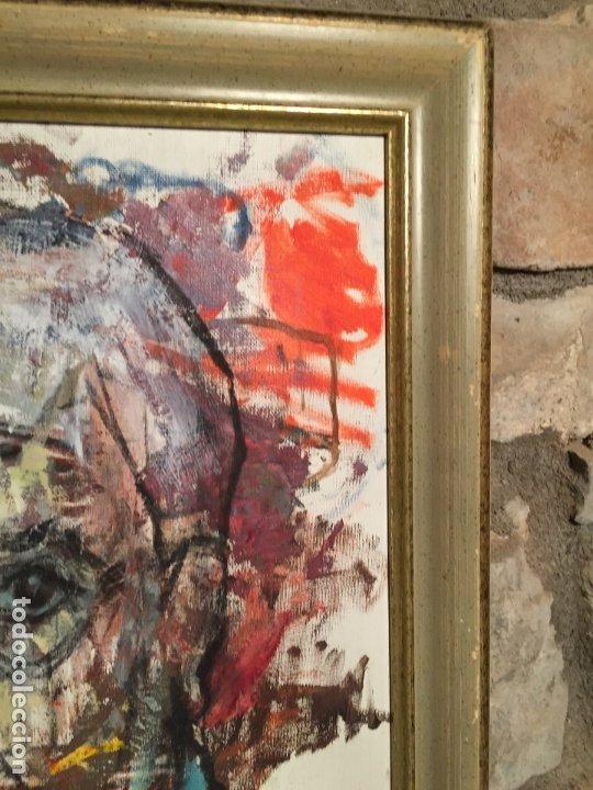 Arte: Antiguo cuadro al oleo de autoretrato abstracto firma del autor Arturo Espinosa Rosique año 1992 - Foto 5 - 182233820