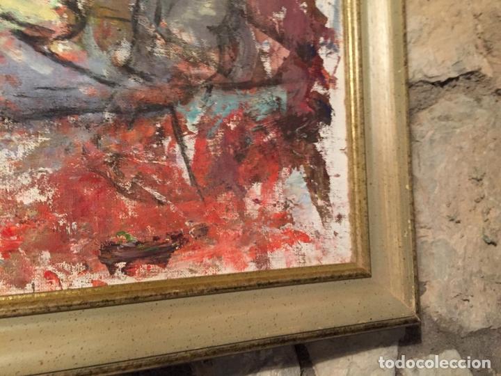 Arte: Antiguo cuadro al oleo de autoretrato abstracto firma del autor Arturo Espinosa Rosique año 1992 - Foto 8 - 182233820