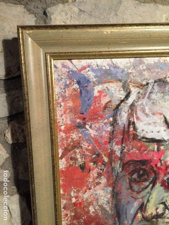Arte: Antiguo cuadro al oleo de autoretrato abstracto firma del autor Arturo Espinosa Rosique año 1992 - Foto 9 - 182233820