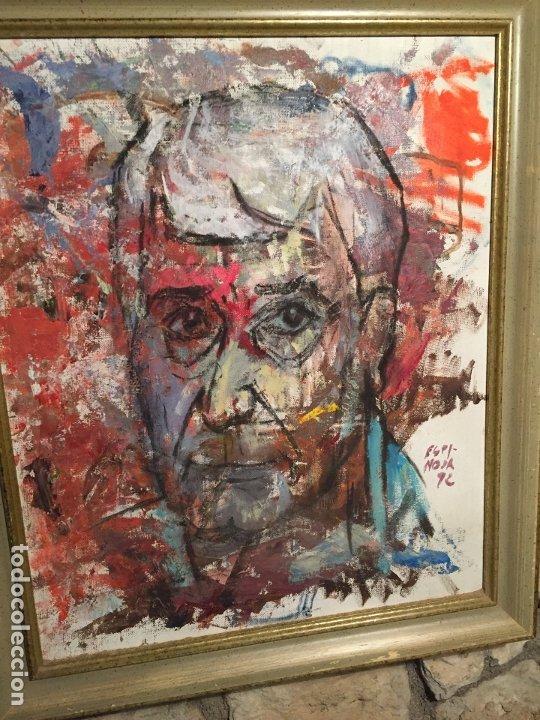 Arte: Antiguo cuadro al oleo de autoretrato abstracto firma del autor Arturo Espinosa Rosique año 1992 - Foto 10 - 182233820