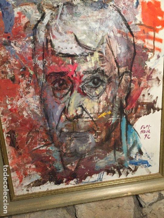 Arte: Antiguo cuadro al oleo de autoretrato abstracto firma del autor Arturo Espinosa Rosique año 1992 - Foto 11 - 182233820