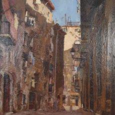 Arte: CALLE DE PUEBLO. ÓLEO SOBRE LIENZO. FIRMADO E. FABREGAS. 1949.. Lote 182247515