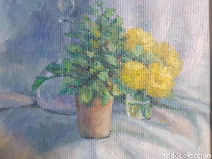 OLEO BODEGON FLORES FIRMA S.ARTES (Arte - Pintura - Pintura al Óleo Contemporánea )