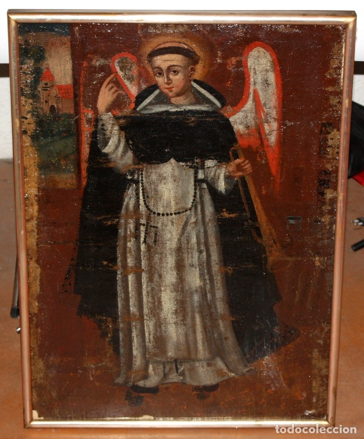 SAN VICENTE FERRER - OLEO TELA - SG XVIII - ESCUELA COLONIAL. (Arte - Pintura - Pintura al Óleo Antigua siglo XVIII)