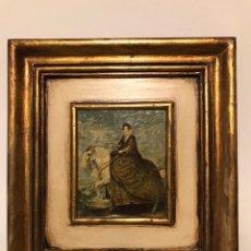 Arte: CUADRO PEQUEÑO CON LAMINA BARNIZADA MUJER A CABALLO. Lote 182396748