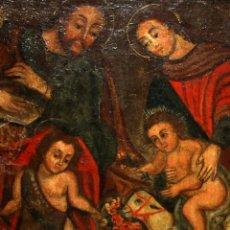 Arte: LA SAGRADA FAMILIA Y SAN JUANITO - ESCUELA CUZQUEÑA - SG XVIII.. Lote 182431965