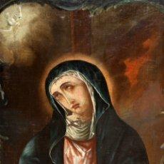 Arte: VIRGEN DOLOROSA - 1854 - ESCUELA COLONIAL - 58 CM X 39 CM.. Lote 182433846