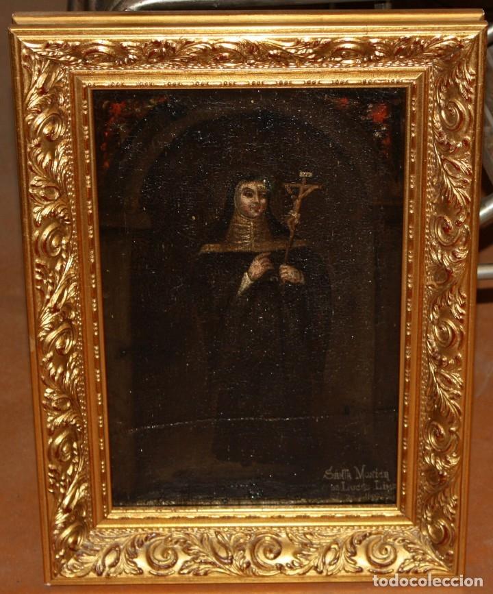 SANTA MONICA DE LIMA - 1685 - OLEO TELA. (Arte - Pintura - Pintura al Óleo Antigua siglo XVII)