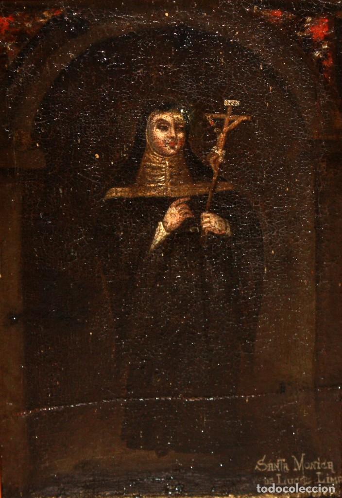 Arte: SANTA MONICA DE LIMA - 1685 - OLEO TELA. - Foto 2 - 182434556