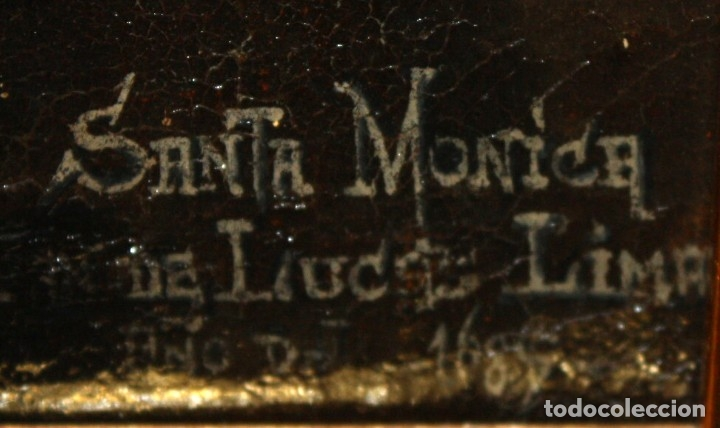 Arte: SANTA MONICA DE LIMA - 1685 - OLEO TELA. - Foto 4 - 182434556
