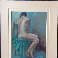 Arte: JOAN TOBELLA SERRA (BARCELONA 1912-2001-ÓLEO SOBRE TABLEX ,DESNUDO FEMENINO, . Lote 182499773
