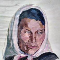 Arte: BAU / ORIGINAL ÓLEO SOBRE PAPEL RETRATO DE MUJER 62/48CM. Lote 182502037