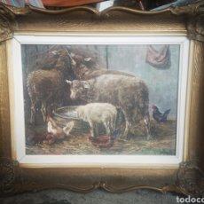 Arte: ÓLEO SOBRE LIENZO, ESCENA RURAL, ANIMALES. FIRMADO. ENMARCADO 50X40CM. Lote 182504112