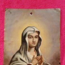 Arte: PINTURA DE LA SANTA VIRGEN SOBRE METAL. Lote 182508141