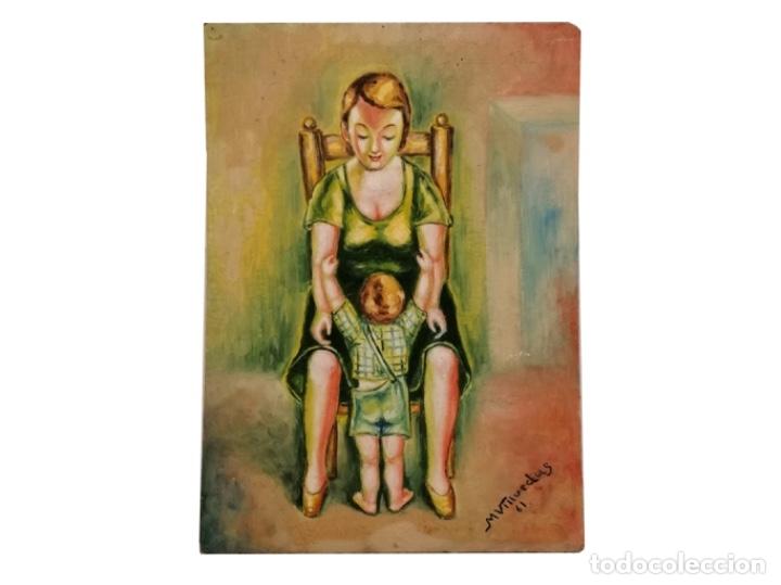 MADRE ABRAZANDO A SU HIJO, 1961 (Arte - Pintura - Pintura al Óleo Contemporánea )