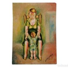 Arte: MADRE ABRAZANDO A SU HIJO, 1961. Lote 182537303