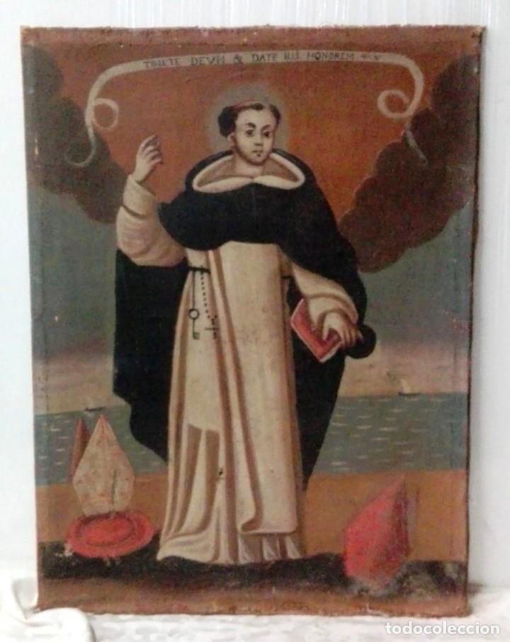 ANTIGUO ÓLEO SOBRE LIENZO DE SANTO DOMINGO DE GUZMÁN. SIGLO XVII. BASTIDOR ORIGINAL. 87X67 (Arte - Pintura - Pintura al Óleo Antigua siglo XVII)